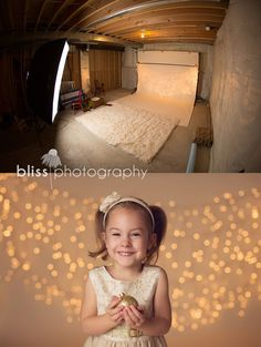 Christmas lights pull back. DIY How to basement studio www.blissphotogra...