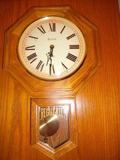 Bulova Regulated Battery Pendulum Mantel Wall Clock Roman Numerals Oak Finish Vintage Mantel Clocks, Telling Time, Bulova, Roman Numerals, Antique, Wall, Walls, Antiques, Roman Numeral Numbers