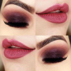 beautiful make up Kiss Makeup, Love Makeup, Makeup Inspo, Makeup Inspiration, Hair Makeup, Purple Makeup, Purple Eyeshadow, Makeup Goals, Makeup Tips