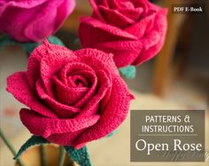 Crochet Flower Pattern - Open Crochet Rose Pattern for Wedding Bouquets and Home Decoration - Flower Crochet Pattern - PDF Pattern (5.00 USD) by HappyPattyCrochet
