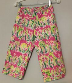868014d2e078a9 Lilly Pulitzer Girls 12 Capri Cargo Cropped Pants Pink Green Lions  Elephants #LillyPulitzer #CapriCropped