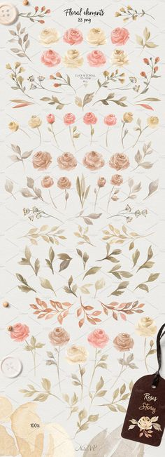 Roses Story. Design Kit Watercolor  by NataliVA on @creativemarket