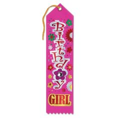 """Pack of 6 Vibrant Pink """"Birthday Girl"""" Jeweled Party Favor Ribbon Bookmarks 8"""