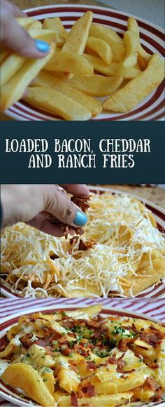 """PERFECT for """"Hattie The Old Fashion Vintage Farmer's Daughter"""" ~~~These loaded bacon, cheddar, and ranch fries are a perfect addition to any game time or party menu. Potato Dishes, Potato Recipes, I Love Food, Good Food, Yummy Snacks, Yummy Food, Tasty, Great Recipes, Favorite Recipes"""