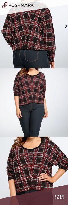Torrid plaid crop sweater size 3 = 3X Torrid crop sweater NWT retro plaid meets a modern crop in one sweater. Torrid label size 3 conversion to 3X torrid Sweaters