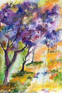 Ink And Watercolor Paintings   Jacaranda Trees Watercolor And Ink By Ginette Painting