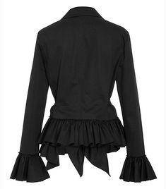 ARTFFEL-Women Formal Open Front Puff Sleeve Solid Color Blazer Jacket Suits