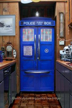 Customized refrigerator kit to turn your fridge into a very special police box. Perfect for a home theatre/entertainment room bar!