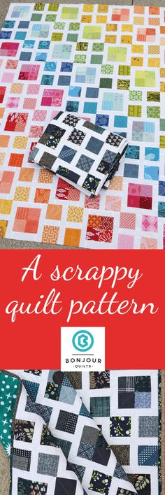 Scrappy Lattice Quilt Pattern - Alternate Colours Make a gorgeous rainbow scrapp. Scrappy Lattice Quilt Pattern – Alternate Colours Make a gorgeous rainbow scrappy quilt from this