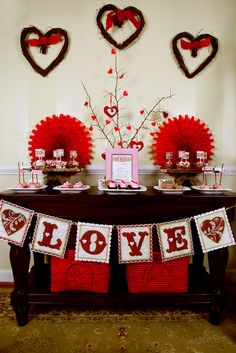 Valentine's Day dessert table...love the banner