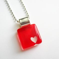 Valentine red heart pendant  hand painted glass  by azurine, $20.00