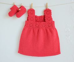 Knitted Baby dress in Coral, with matching shoes (100% wool)