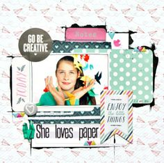 """""""She Loves Paper"""" created using the June kits from @cocoadaisykits www.cocoadaisy.com #cocoadaisykits #scrapbooking #kitclub #paper"""
