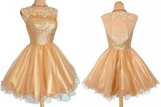 Bateauy Gold Sequins Homecoming Dress with Appliques Illision Open Back,Short dress