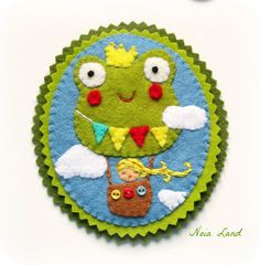 The frog prince air balloon felt brooch by Noialand on Etsy, $21.00