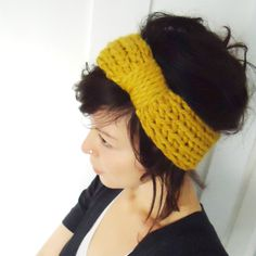 Chunky Knit Turban Headband Mustard-- i HAVE to learn how to do this