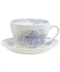 Large Asiatic Print Teacup and Saucer by Burleigh