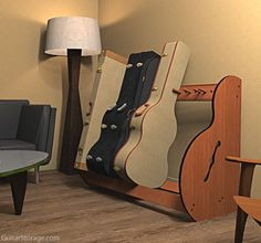 Guitar Case Stand In Living Room | Adjustable Guitar Case Storage | GuitarStorage.com $319 for short rack of 5-7 guitar cases