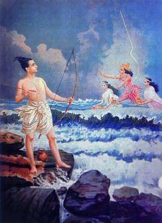 Reprints of Raja Ravi Varma Paintings: Varuna Pacifying Rama's Anger when the Sea Refused to give Way to Reach Lanka