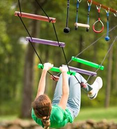 Kids can train like real ninjas do with the Ninjaline Obstacle Course Kit! Deluxe Kit includes 2 exclusive obstacles—a Bachar ladder and a rickety bridge. Kids Outdoor Play, Backyard For Kids, Outdoor Games, Outdoor Activities, Backyard Ideas, Backyard Gym, Kids Yard, Backyard Movie, Outdoor Toys