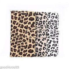 Leopard  PU Leather Wallet Fold Card Slot Cover For Samsung Galaxy S6/ S6 Edge