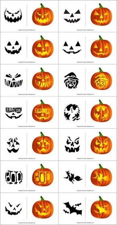 Free Printable Halloween Pumpkin Carving Stencils, Patterns, Designs, Faces & Ideas Free-Halloween-Pumpkin-Carving-Patterns-Scary-Stencils-In-Vector-Format Scary Pumpkin Carving Patterns, Cute Pumpkin Carving, Halloween Pumpkin Carving Stencils, Halloween Pumpkin Designs, Scary Halloween Pumpkins, Halloween Patterns, Halloween Halloween, Pumpkins Carving Stencils, Pumpkin Designs Carved