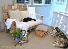Funky Junk Interiors: Pallet wood outdoor sofa reveal...love the wooden DIY buttons!