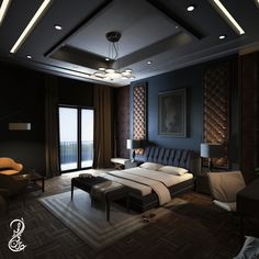 new-classic Bedroom Interior Design Black Bedroom Design, Luxury Bedroom Design, Master Bedroom Interior, Master Bedroom Design, Luxury Interior, House Ceiling Design, Ceiling Design Living Room, Bedroom False Ceiling Design, Interior Design Living Room