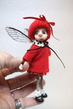 ooak poseable scared little ELF fairy girl ( 73 ) pixie polymer clay art doll by DinkyDarlings by DinkyDarlings on Etsy