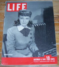 Life Magazine December 9, 1940 Ginger Rogers on the Cover