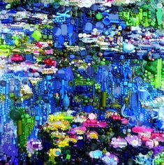 Recycled and Button Art from Jane Perkins - Water Lilies by Monet Junk Art, Monet, Trash Art, Image 3d, Found Object Art, Ouvrages D'art, Assemblage Art, Button Art, Recycled Art