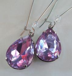 Lavender Purple Teardrop Earrings Bridal, Rhinestone and Spiritual Jewelry  #design #rhinestoneearrings