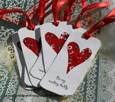cardmaking...bandana heart cutout bookmark
