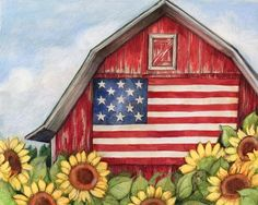 Classic Americana Art - Flag Barn wall art by Susan Winget available at Great BIG Canvas. Farm Paintings, Spring Painting, Americana Art, Fall Canvas Painting, Primitive Painting, Painting Crafts, Canvas Art Painting, Flag Painting, Cute Canvas Paintings