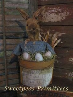 Primitive Early Vintage Style Easter Bunny Rabbit Stump Doll with Eggs in Rusty Pail Reproduction Vintage Label~ Sweetpeas Primitives