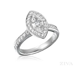 Marquise Engagement Ring in Bezel Setting with Halo