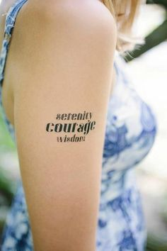 Show your support for a loved one struggling with sobriety or acceptance with the main words in the Serenity Prayer. myTaT - Serenity Courage Wisdom Temporary Tattoo