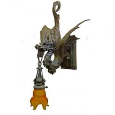 Gothic Pure Bronze Dragon Sconce - A True Attention Getter $1600