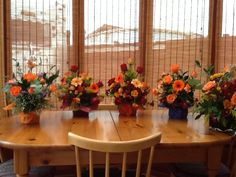 Set of 5 floral displays in autumn colours