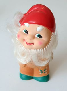 1960s Soviet Russia RUSSIAN  VINTAGE PVC Rubber Toy GNOME ,  Made in USSR.