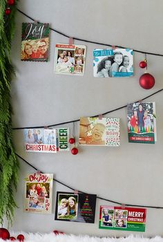 for the cards at work. String your holiday cards along a wall in a festive layout display. We love the ornaments that sit between our favorite designs. Merry Little Christmas, Christmas 2014, Family Christmas, Winter Christmas, All Things Christmas, Christmas Ideas, Christmas Projects, Holiday Crafts, Holiday Fun