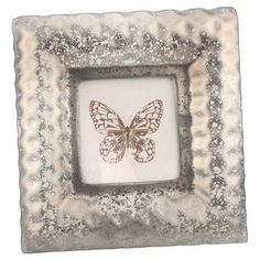 """Frosted glass picture frame.   Product: Picture frameConstruction Material: GlassColor: GreyFeatures: Holds one 4"""" x 4"""" photoDimensions: 8.5"""" H x 8.5"""" W"""