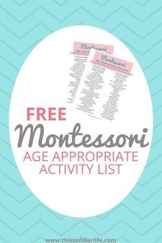 FREE Montessori Age Appropriate Activity List