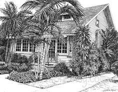 "My Original Pen and Ink drawing called ""Cottage in the Tropics"" . $150.00 This is my favorite house in Naples FL."