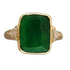 "Vintage 3.44ct ""A"" Grade Jadeite Jade 18k Gold .28CT Triangle Cut Diamond Ring"