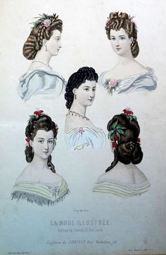 Victorian fashion plate from Journal de Demoiselles, 1860s. Hair updo's Coiffures. Front, side and back views.