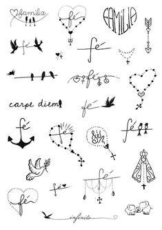 unique Friend Tattoos - Fé e Família Little Tattoos, Mini Tattoos, Love Tattoos, Body Art Tattoos, New Tattoos, Tattoos For Guys, Tatoos, Wrist Tattoos For Women, Tattoos For Women Small