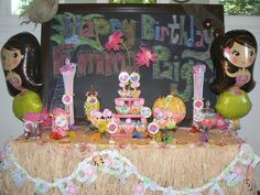 Candy Table at Hawaiian Luau birthday party
