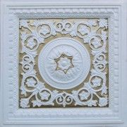 """#VC02 White Matt - Gold  Size: 24""""x24"""" Installation type: Drop In Price: 10.49 USD http://www.talissadecor.com/catalog/glue-up-faux-tin-ceiling-tiles/faux-tin-white-ceiling-tiles"""