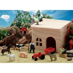 Small World Play Farm Scene Kit - Explore life on the farm with this lovely set of farm animals and a farm building. Great for use with stories such as Farmer Duck and the Old MacDonald song.
